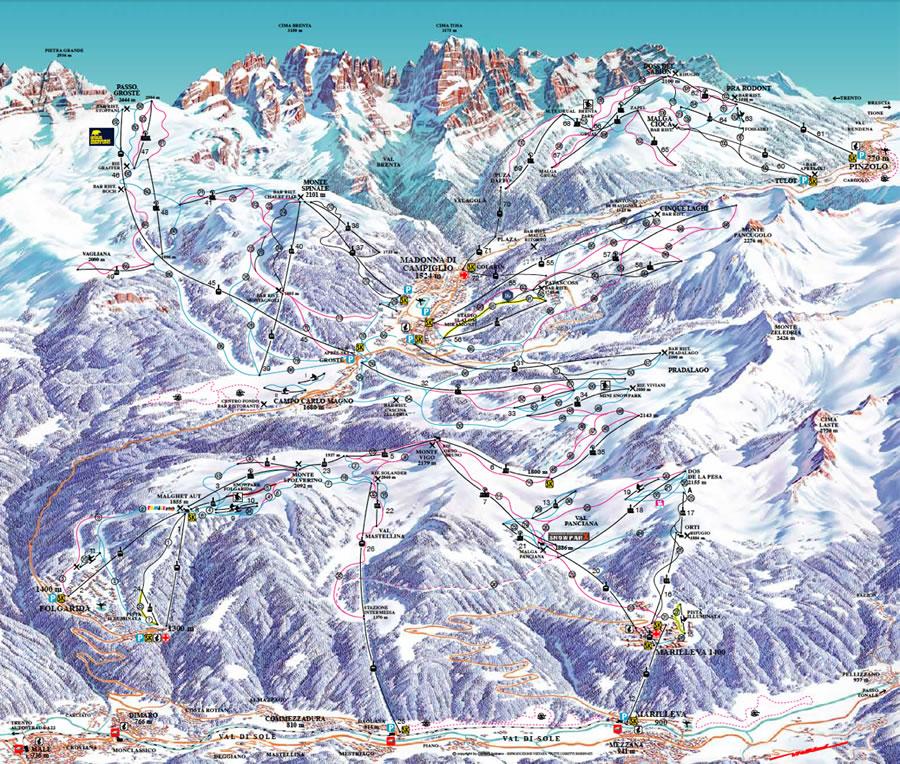 Mappa piste Campiglio Pinzolo