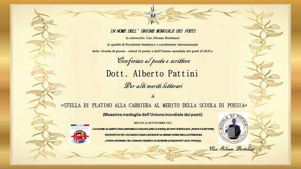 Stella di platino alla carriera onorificienza UMP a Alberto Pattini