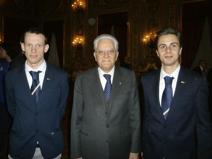 Luca Dallavalle, il Presidente Sergio Mattarella e Michele Cera
