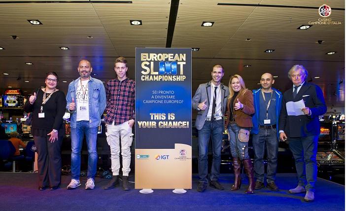 Casinò di Campione d'Italia i sei finalisti della seconda edizione  dell'European Slot Championship con Carlo Pagan amministratore delegato del Casinò