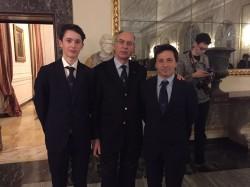 Guido Gallinaro, il presidente Giancarlo Mirandola e l'allenatore Fabio Zeni