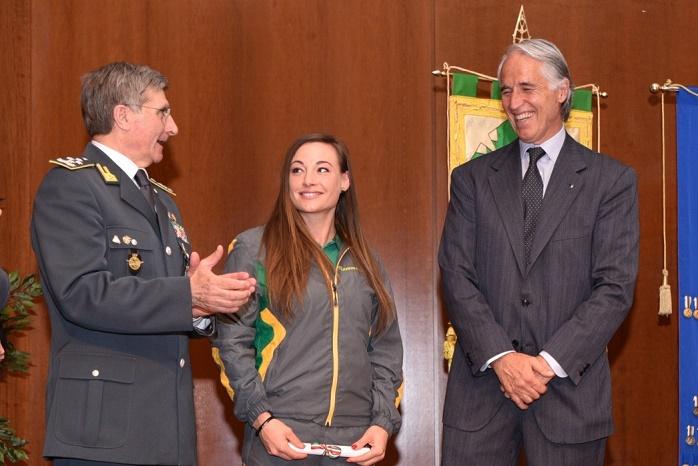 Dorothea Wierer - generale Capolupo e Malagò