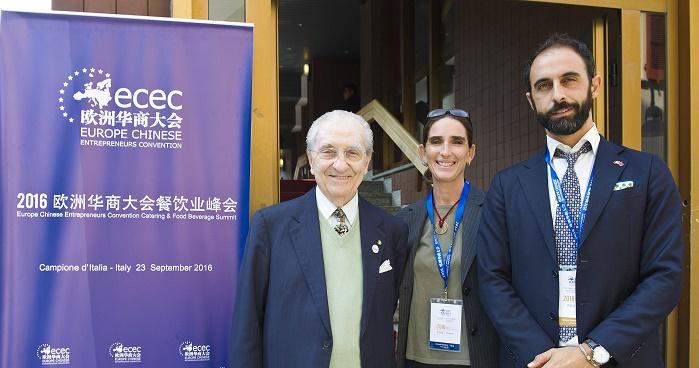 Campione d'Italia Europe Chinese Entrepreneurs Convention 2016, nella foto Gualtiero Marchesi, Mirta Oregna e Francesco Boggio Ferraris