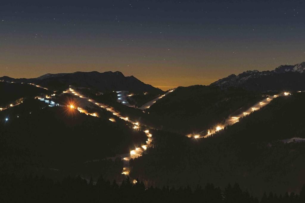alpe cimbra skiarea notte