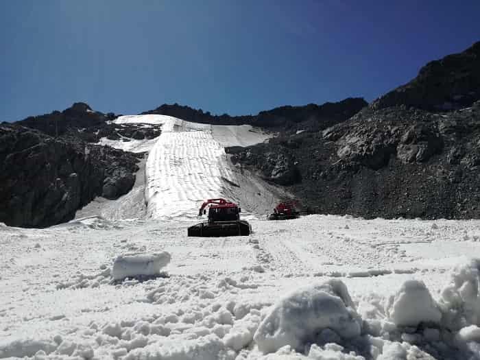 Teli geotessili - ghiacciaio Presena 2